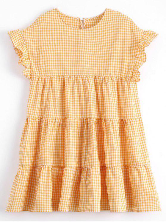 Vestido Mini Recto de Cuadro con Volantes - Comprobado L