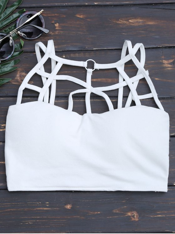 Criss Cross Strappy Crop Top - Blanco Única Talla