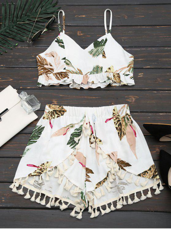 affordable Cropped Ruffles Tropical Top and Tassels Layered Shorts - WHITE S