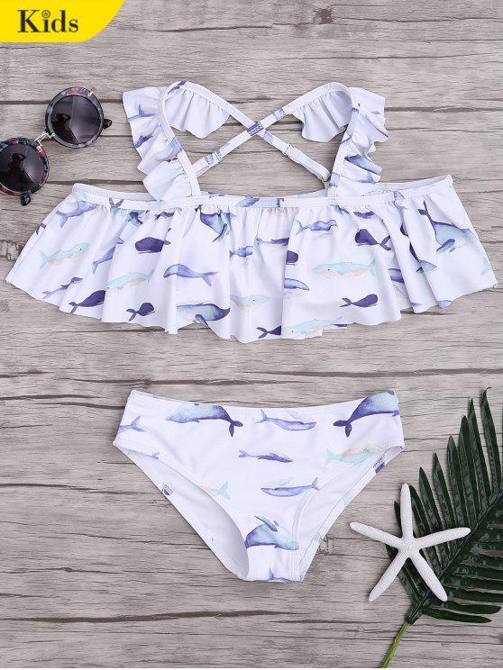 online Dolphin Print Flounce Kids Bikini Set - WHITE 4T