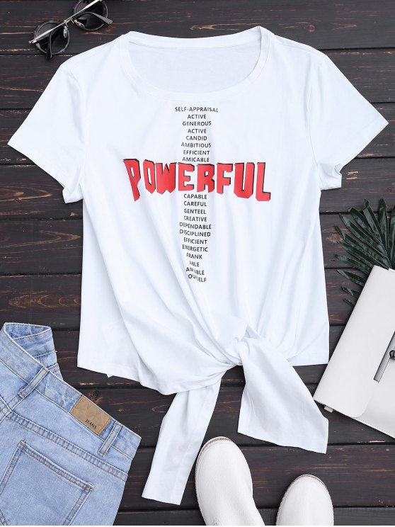 outfits Bowknot Letter T-Shirt - WHITE S
