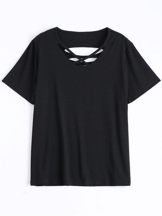 Camiseta rasgada de algodón de la cruz de Criss - Negro 2XL