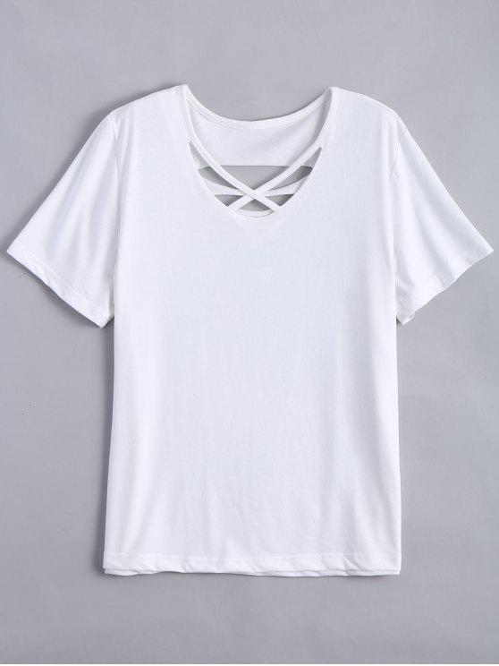 Camiseta rasgada de algodón de la cruz de Criss - Blanco XL
