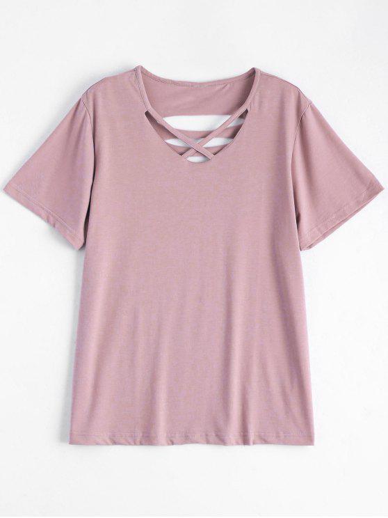 Camiseta rasgada de algodón de la cruz de Criss - Rosa 2XL