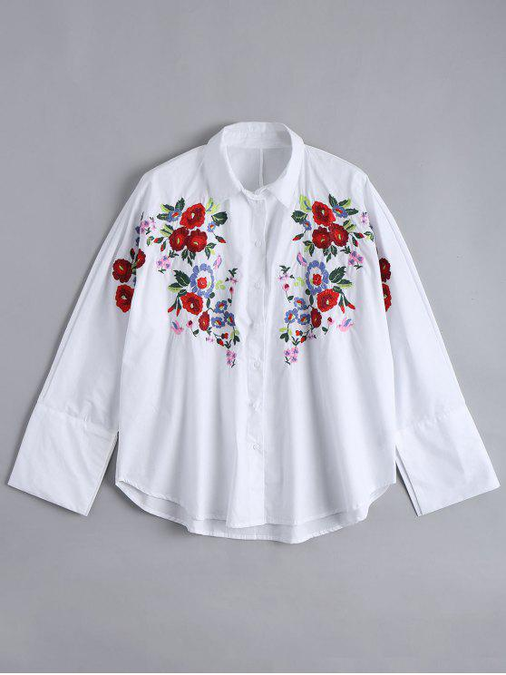 sale Loose Floral Embroidered High Low Shirt - WHITE M