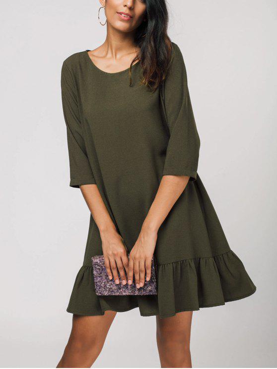 lady Ruffles Three Quarter Sleeve Shift Dress - ARMY GREEN XL