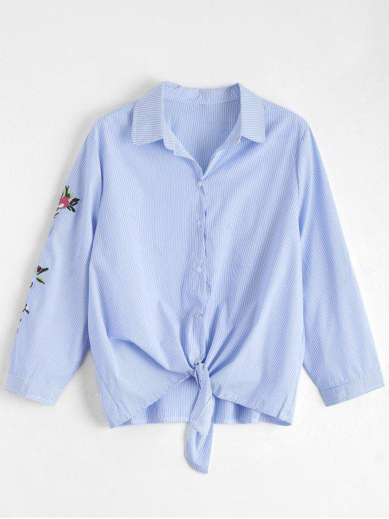 shop Bow Tie Stripes Floral Embroidered Shirt - STRIPE S
