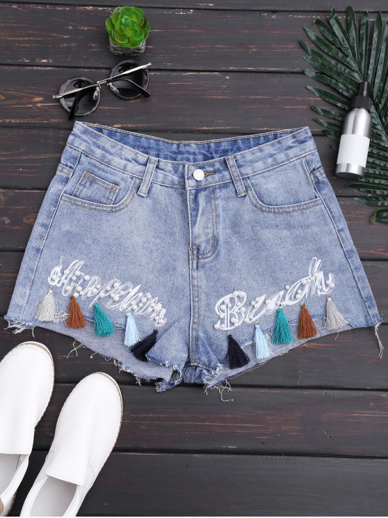 chic Cutoffs Tassels Beaded Embroidered Denim Shorts - DENIM BLUE M