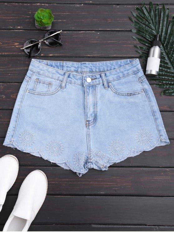 Pantalones cortos bordados Scalloped del dril de algodón - Denim Blue S