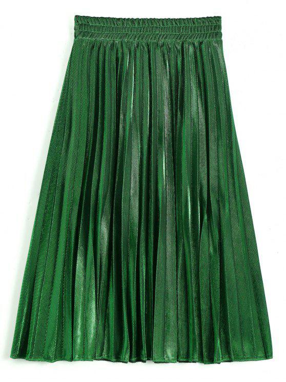 best Metallic Color Shiny Midi Pleated Skirt - DEEP GREEN M