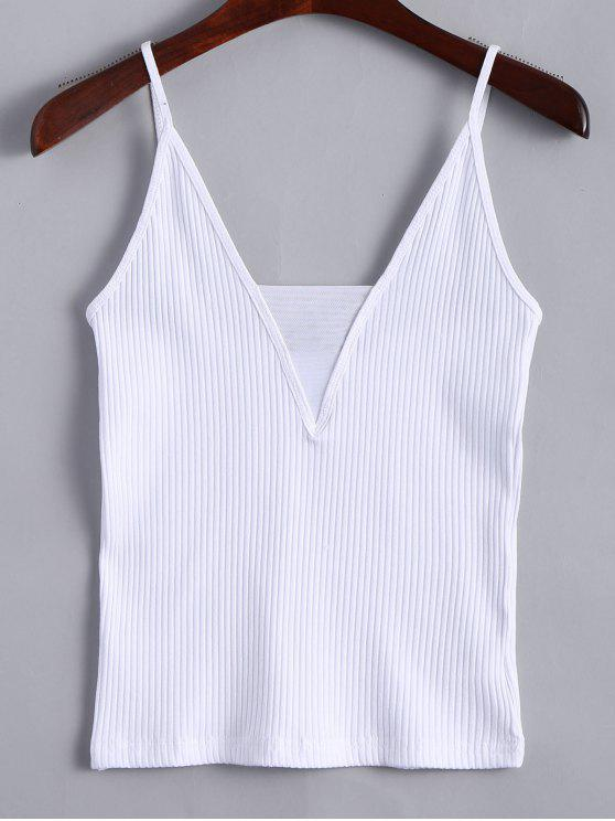 online Knitted Voile Panel Ribbed Tank Top - WHITE S