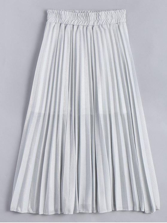 new Metallic Color Shiny Midi Pleated Skirt - SILVER GRAY L