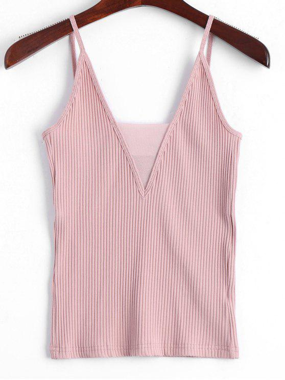 Tejido de Voile panel Ribbed Tank Top - Rosa S