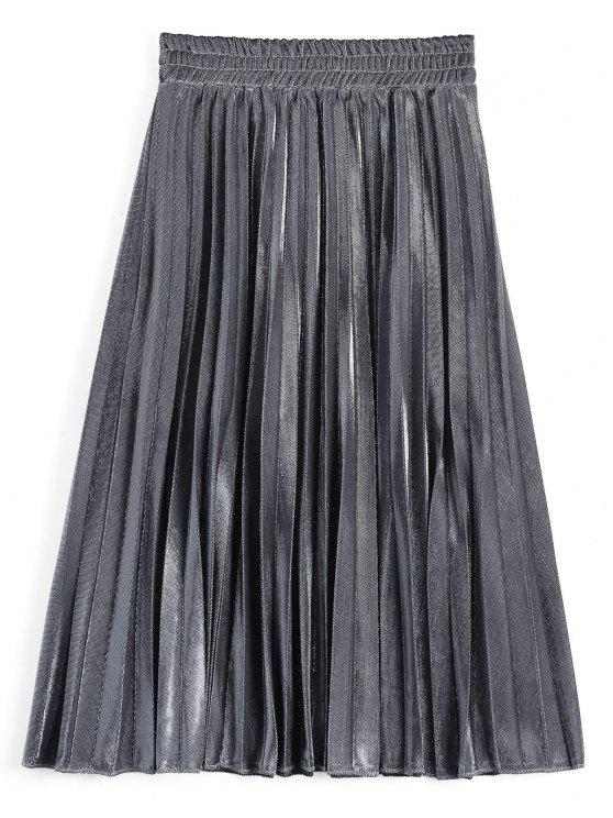 Metallic Color Shiny Midi Pleated Jupe - Prata M
