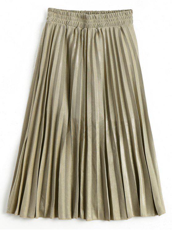 latest Metallic Color Shiny Midi Pleated Skirt - GOLDEN L