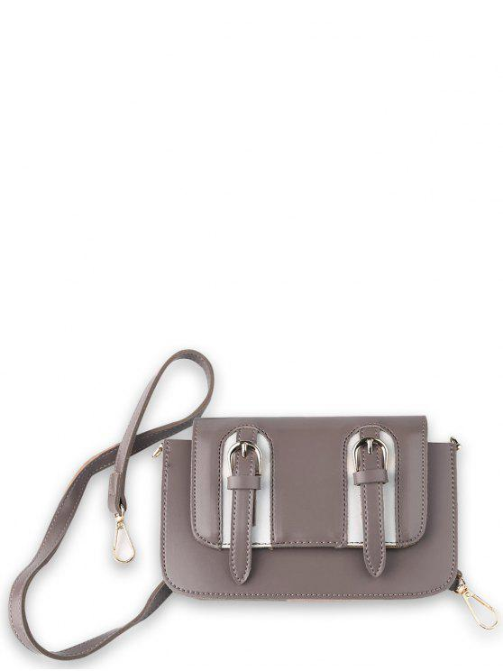 best Twin Buckles Mini Cross Body Bag - PINKISH PURPLE