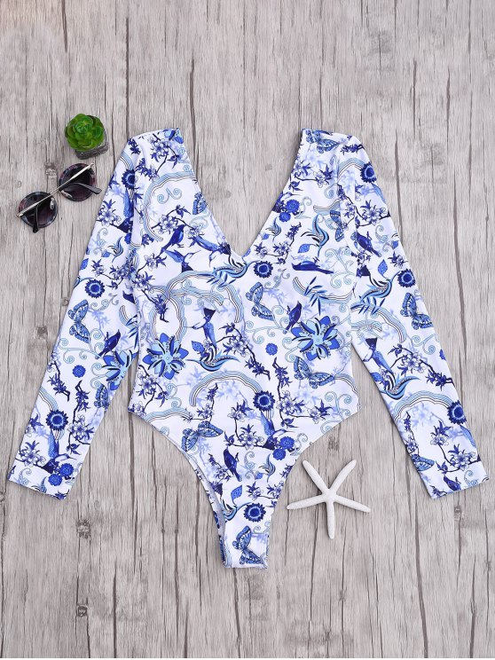 trendy Padded Printed Rashguard One Piece Swimsuit - BLUE AND WHITE S