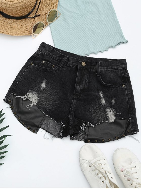 Short Denim à Empiècement PU Coupé Usé - Noir XL