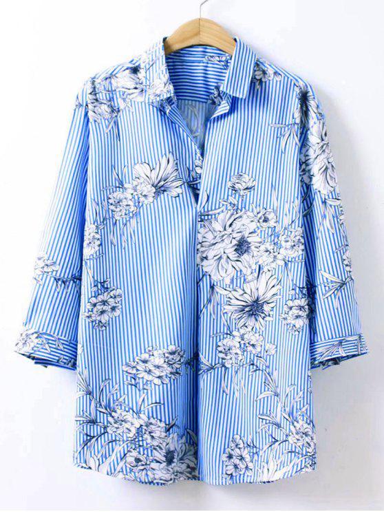 unique Floral Print Striped Longline Shirt - BLUE L