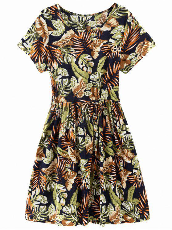 Drawstring Tropical Leaf Print Robe Longueur au genou - Floral TAILLE MOYENNE