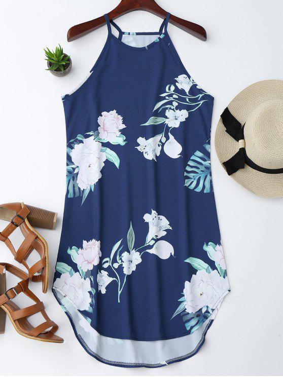 Vestido con Tirante Fino con Estampado Floral - Azul Marino  L