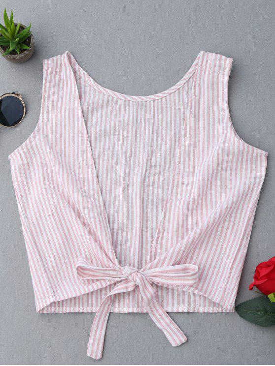 womens Plunging Neck Striped Tank Top - PINK XL