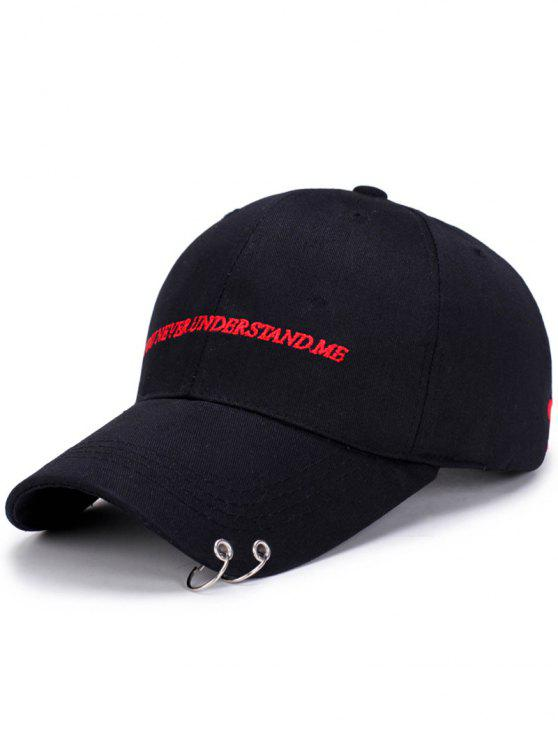 new Double Circles Letters Embroidery Baseball Hat - BLACK