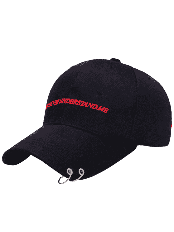 Double Circles Letters Embroidery Baseball Hat - Black