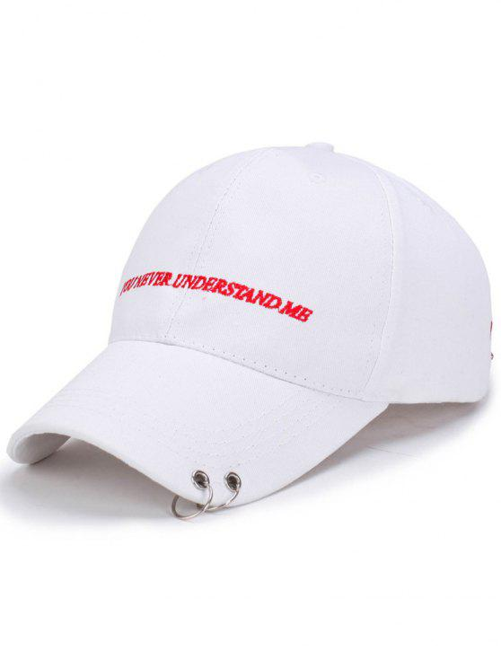 hot Double Circles Letters Embroidery Baseball Hat - WHITE