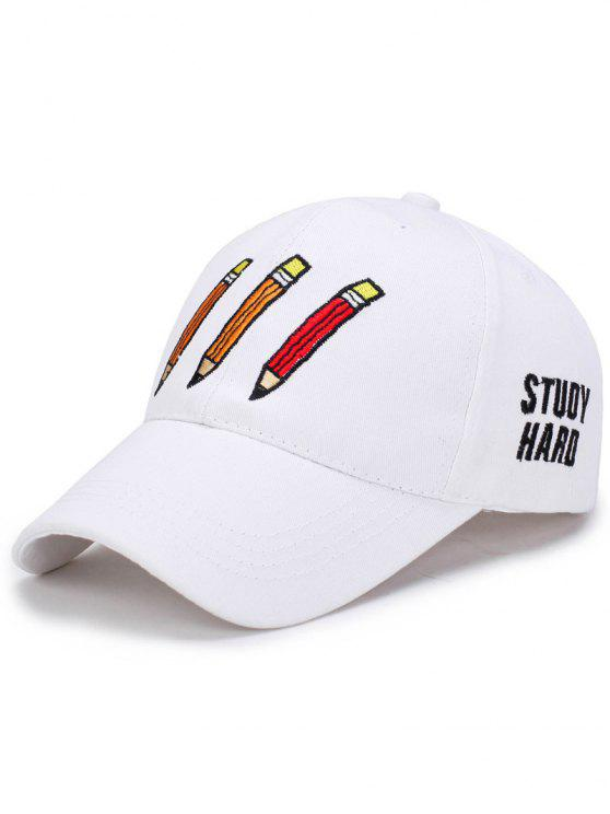 shops Cartoon Pencil Letters Embroidery Baseball Hat - WHITE