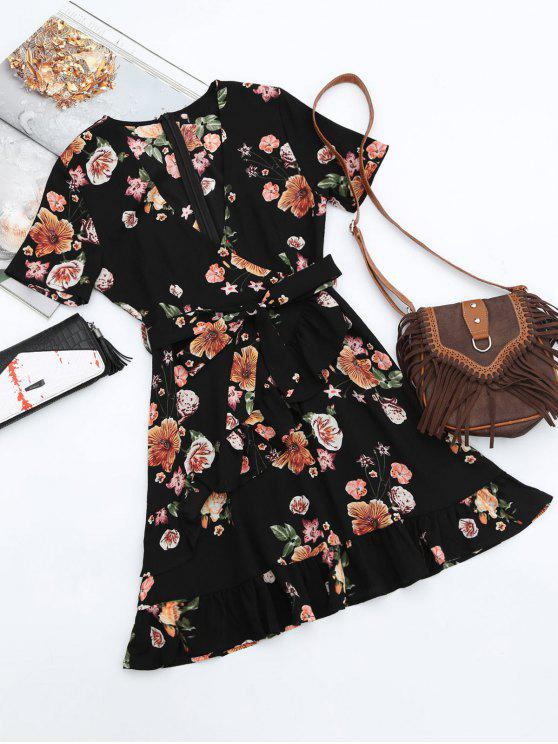 trendy Floral Plunging Neck Ruffles Surplice Dress - BLACK L