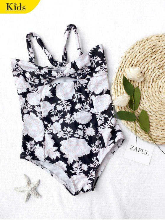 Back Tied Cut Out Floral Kid Swimwear - Noir 7T