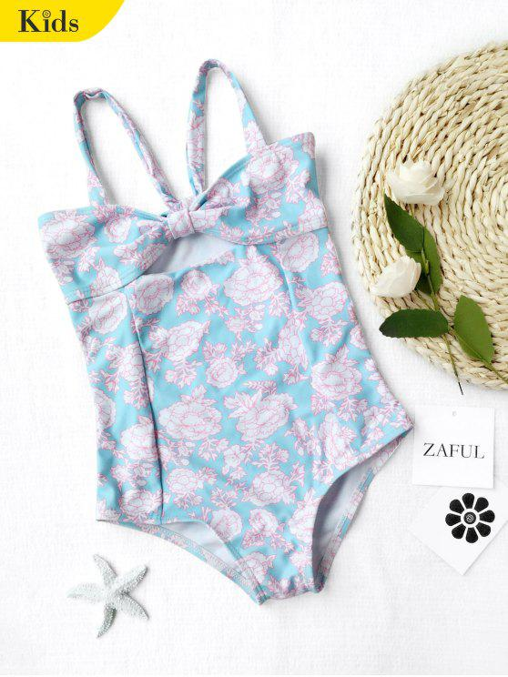 Cut Out Back Tied Floral Kid Swimwear - Bleu clair 7T