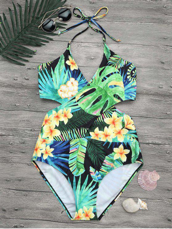 online Plus Size Tropical Floral Wrap Swimsuit - COLORMIX XL