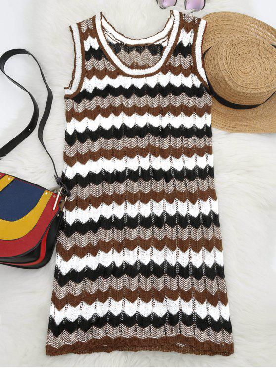womens U Neck Graphic Sleeveless Knitted Dress - MULTI ONE SIZE