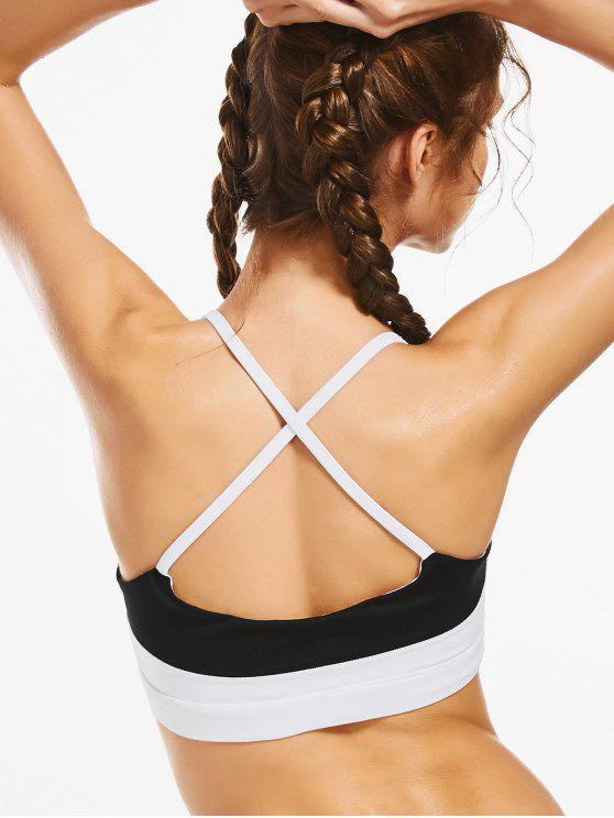 trendy Color Block Cross Back Padded Sporty Bra - WHITE L