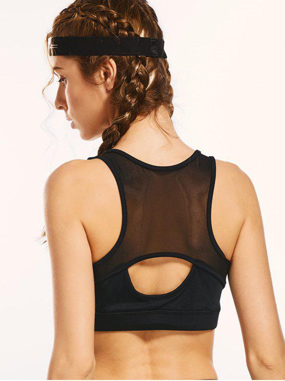 womens Mesh Panel Cut Out Padded Sporty Bra - BLACK L
