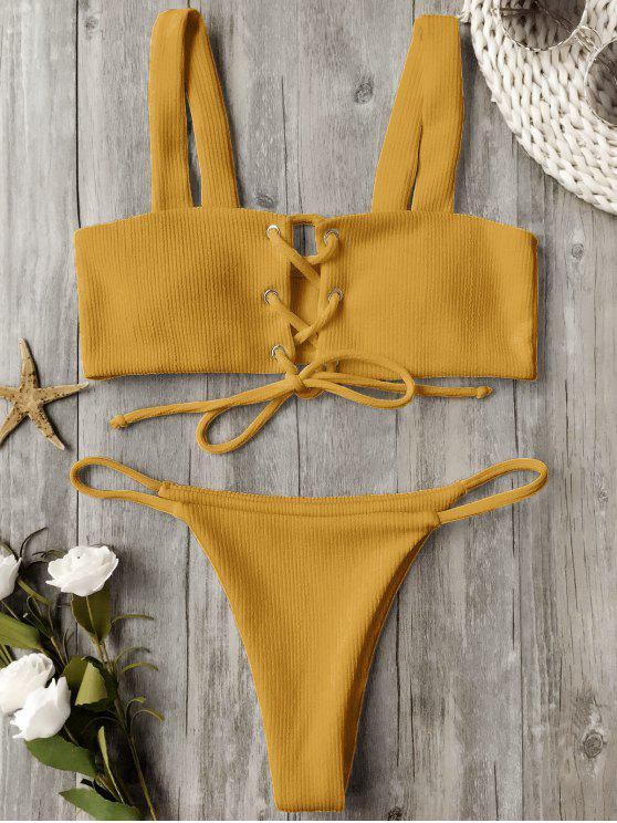 womens Ribbed Texture Lace Up Bathing Suit - GINGER M