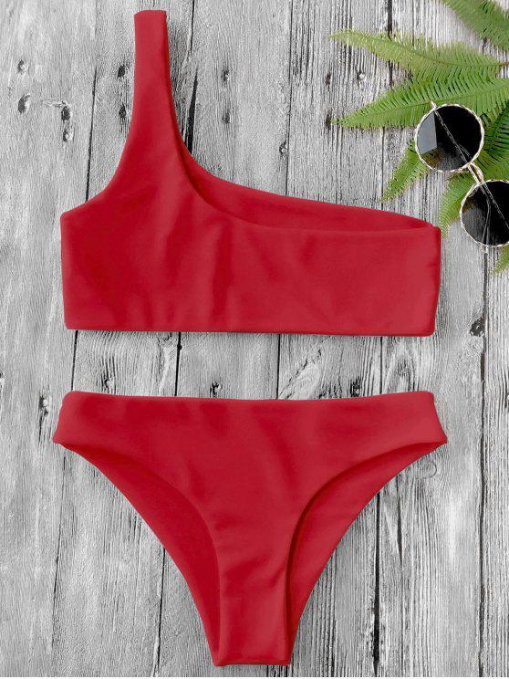 hot One Shoulder Bikini Set - RED M