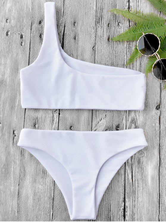 online One Shoulder Bikini Set - WHITE S