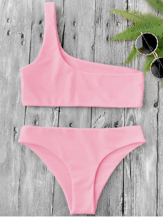 ladies One Shoulder Bikini Set - PINK S