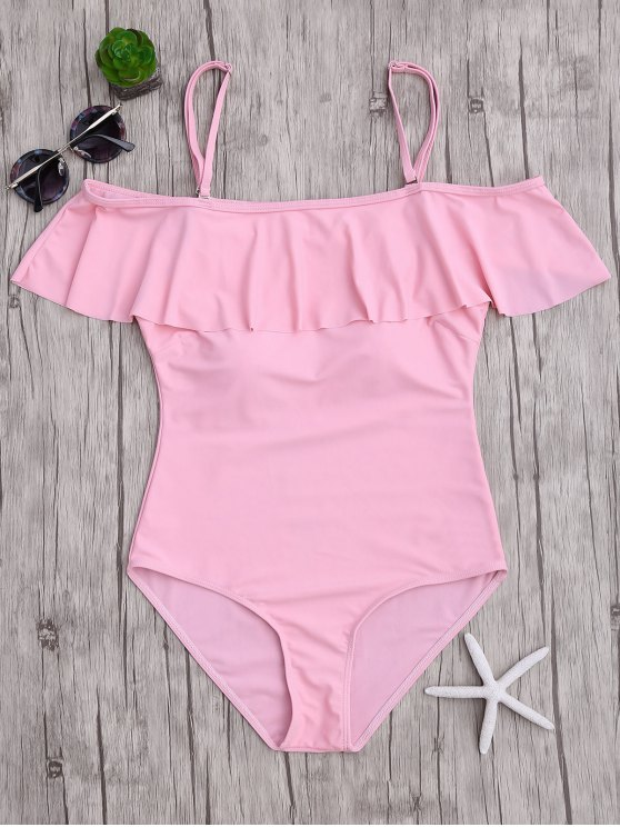 shop Off The Shoulder Flounced One-Piece Swimwear - PINK S