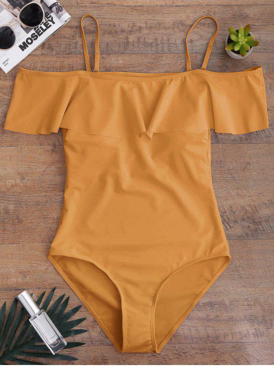 womens Off The Shoulder Flounced One-Piece Swimwear - EARTHY S