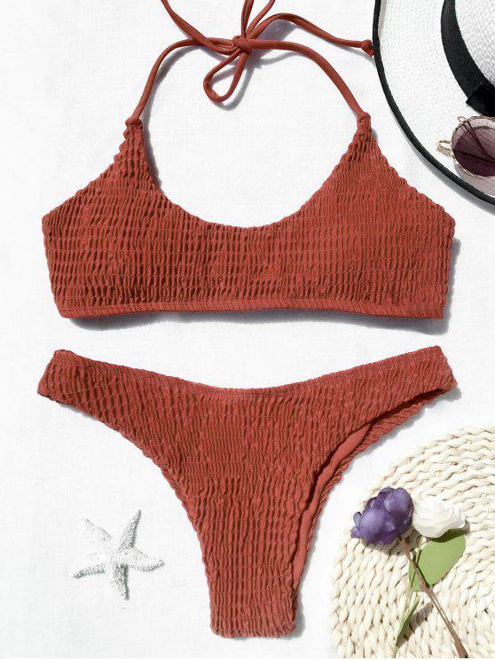 Gepolsterter Smocked Bralette Bikini Set - Roter Zirkon L