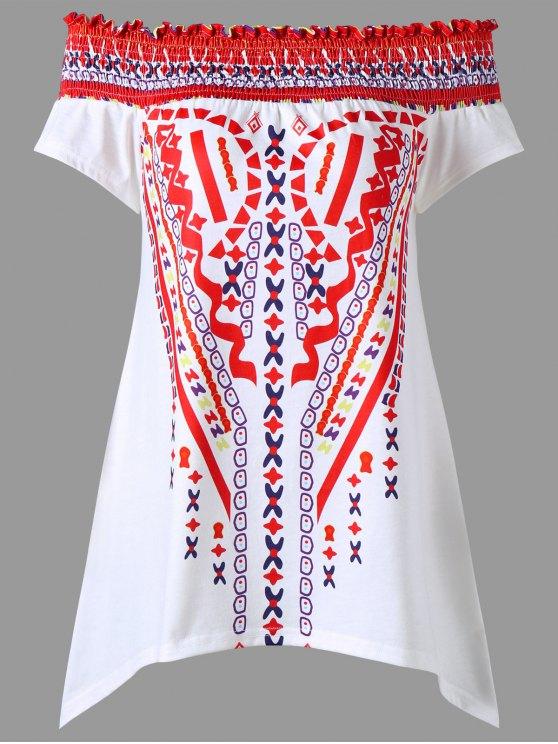 Smocked de la blusa tribal del hombro - Jacinto 2XL
