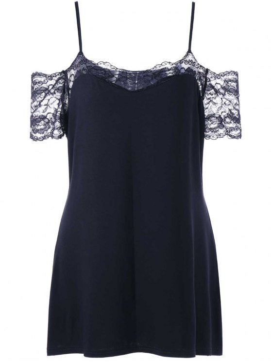 sale Plus Size Lace Trim Dew Shoulder T-shirt - BLACK XL