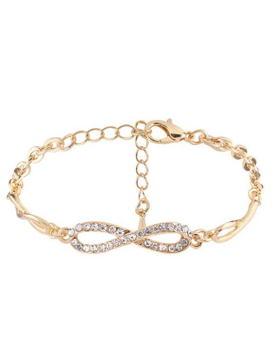 Rhinestone Infinite 8 Chain Bracelet - Or