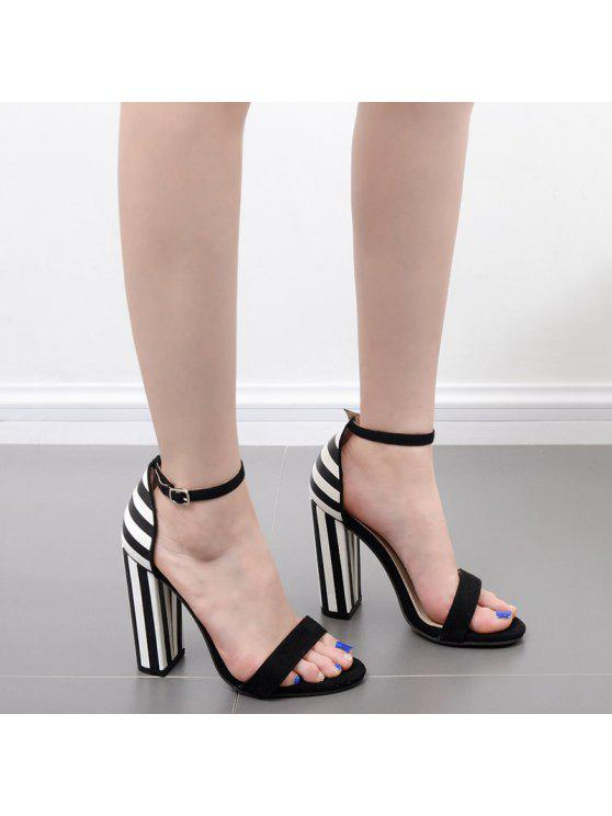 best Striped Pattern Two Tone Sandals - BLACK WHITE 37