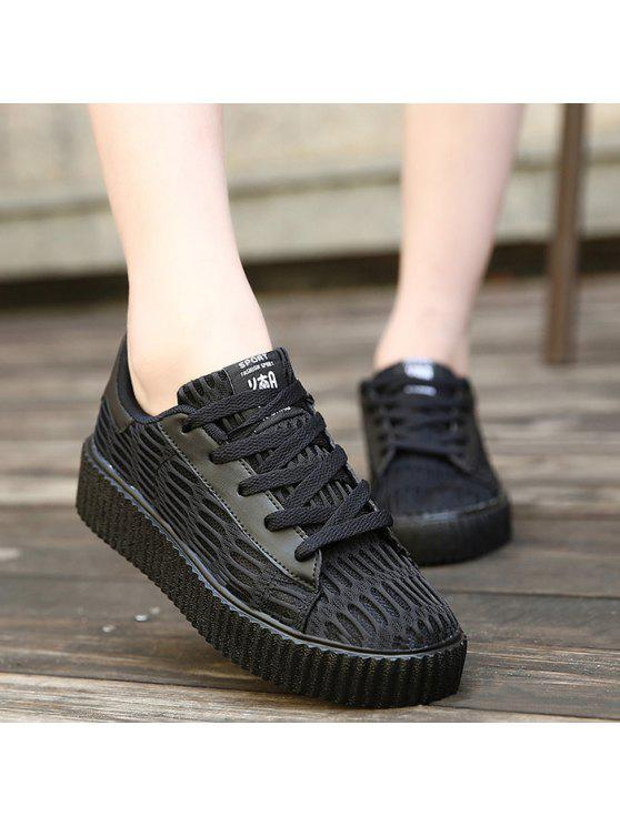 sale Tie Up Mesh Breathable Athletic Shoes - BLACK 37