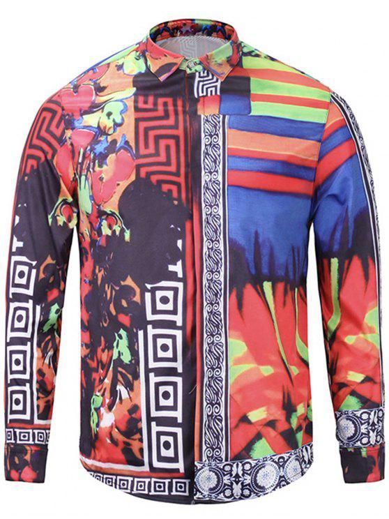 قميص غطاء بلاكيت كتلة اللون لوحة الأزهار طباعة - أحمر 2XL